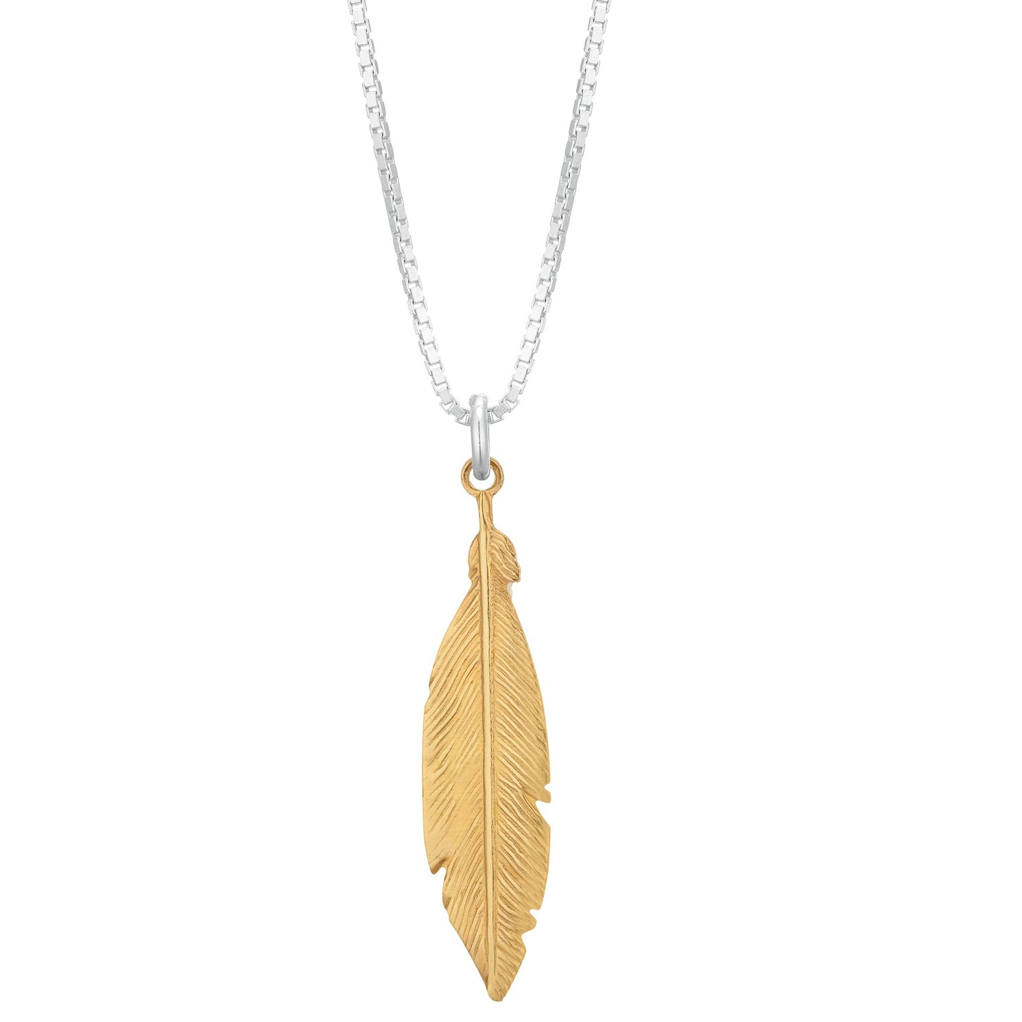 Silver Yellow Gold Plated Feather Pendant - Product number 1059424
