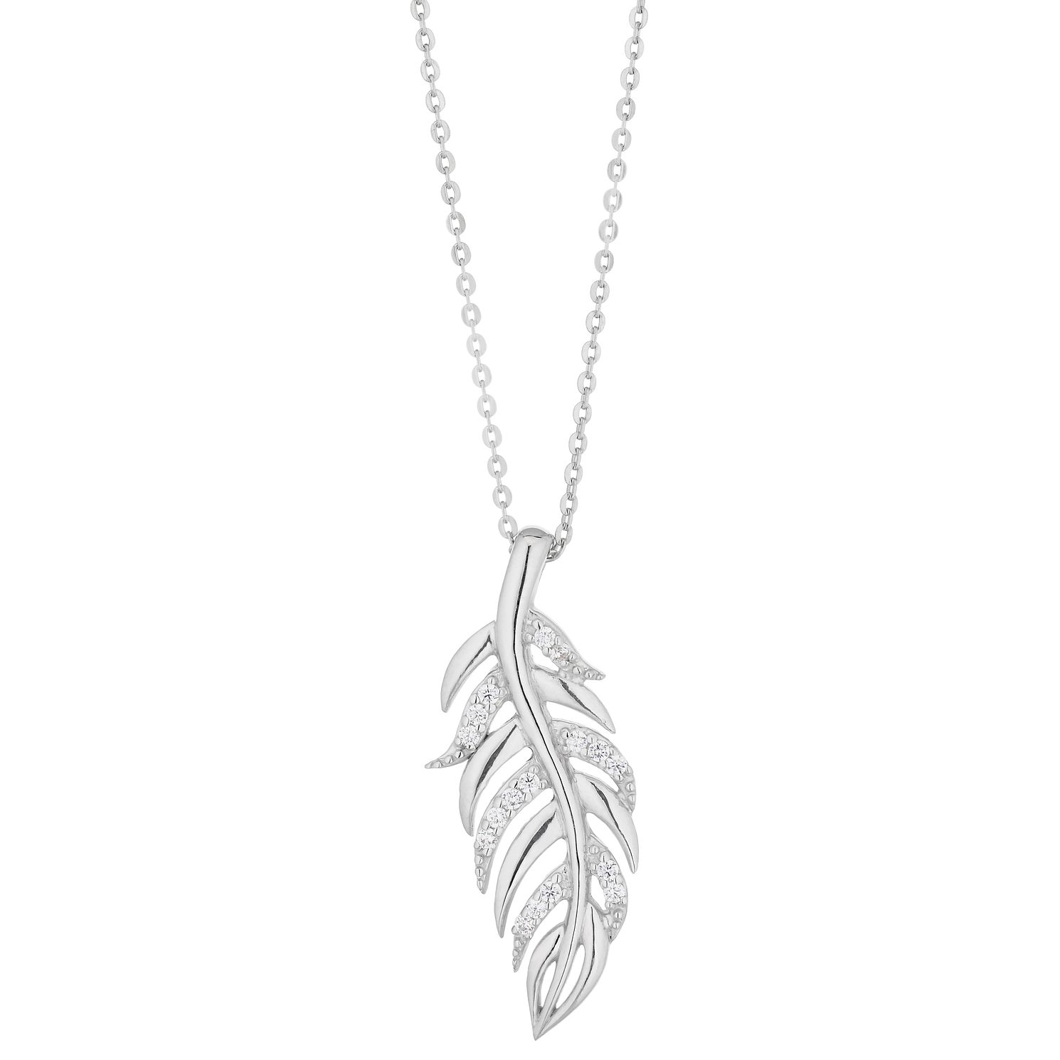 Silver & Cubic Zirconia Feather Pendant - Product number 1059440