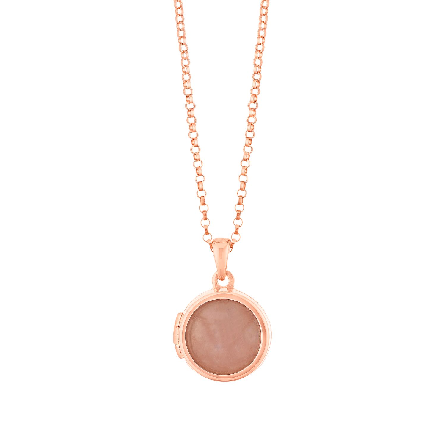 Silver Rose Gold Plated Rose Quartz Locket - Product number 1059513