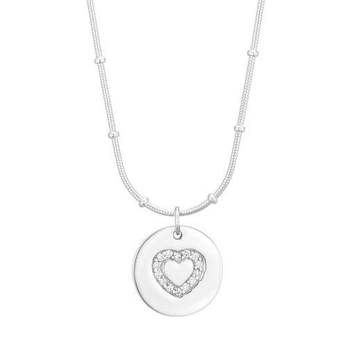 Silver Cubic Zirconia Heart Disc Pendant - Product number 1059599