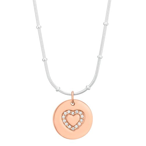 Silver Rose Gold Plated Cubic Zirconia Heart Disc Pendant - Product number 1059602