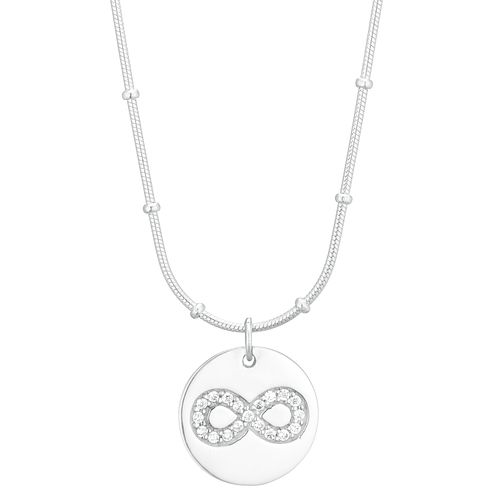 Silver Cubic Zirconia Infinity Disc Pendant - Product number 1059629