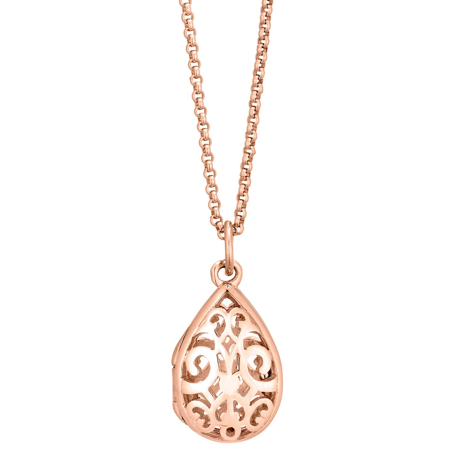Silver Rose Gold Plated Filigree Fine Chain Locket - Product number 1059645