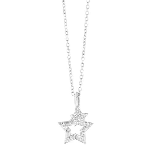 Silver Cubic Zirconia Two Stars Pendant - Product number 1059696