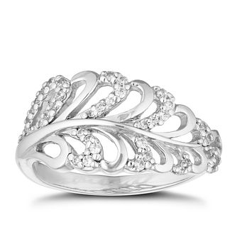 Silver Cubic Zirconia Feather Ring - Product number 1059777