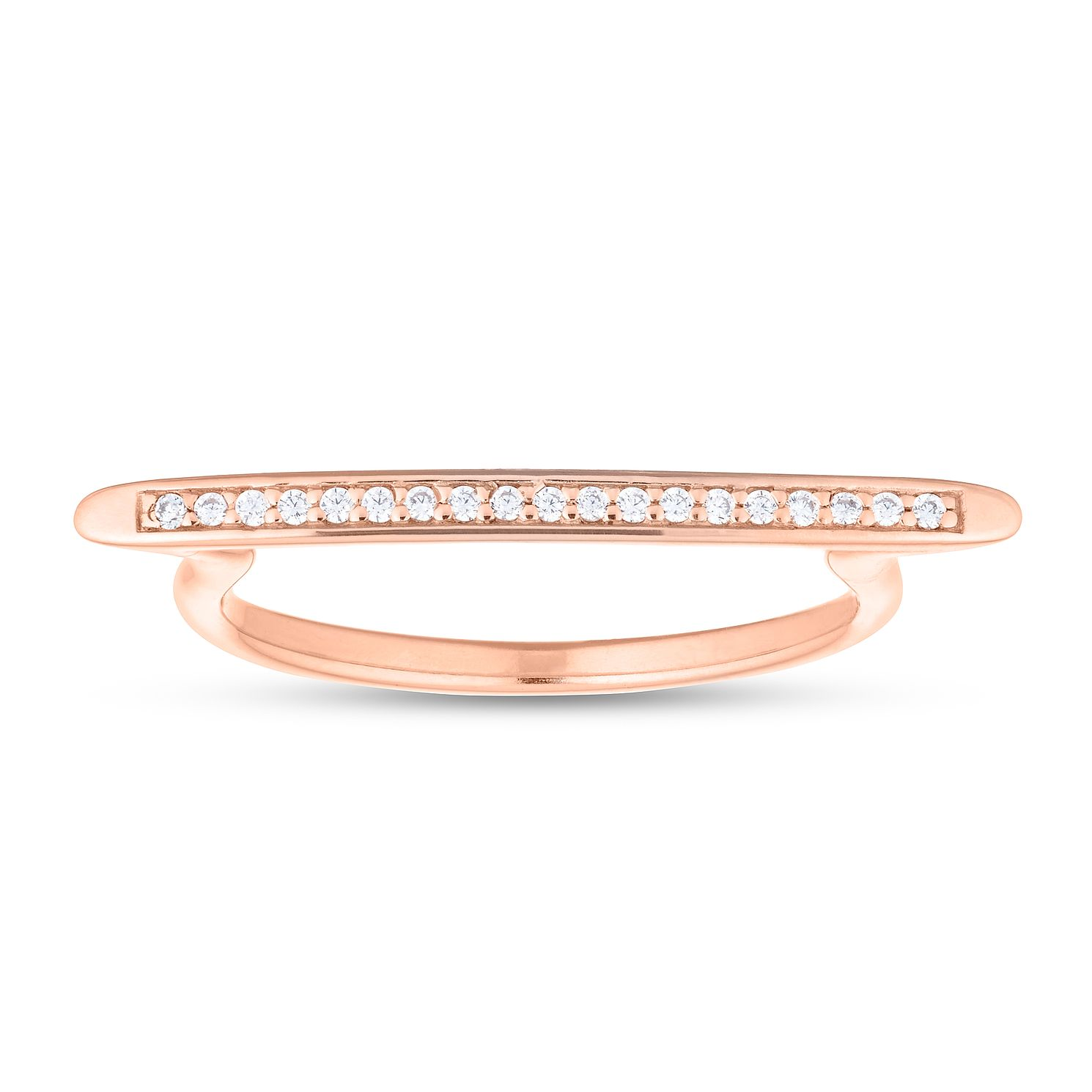Silver Rose Gold Plated Cubic Zirconia Bar Ring - Product number 1059793