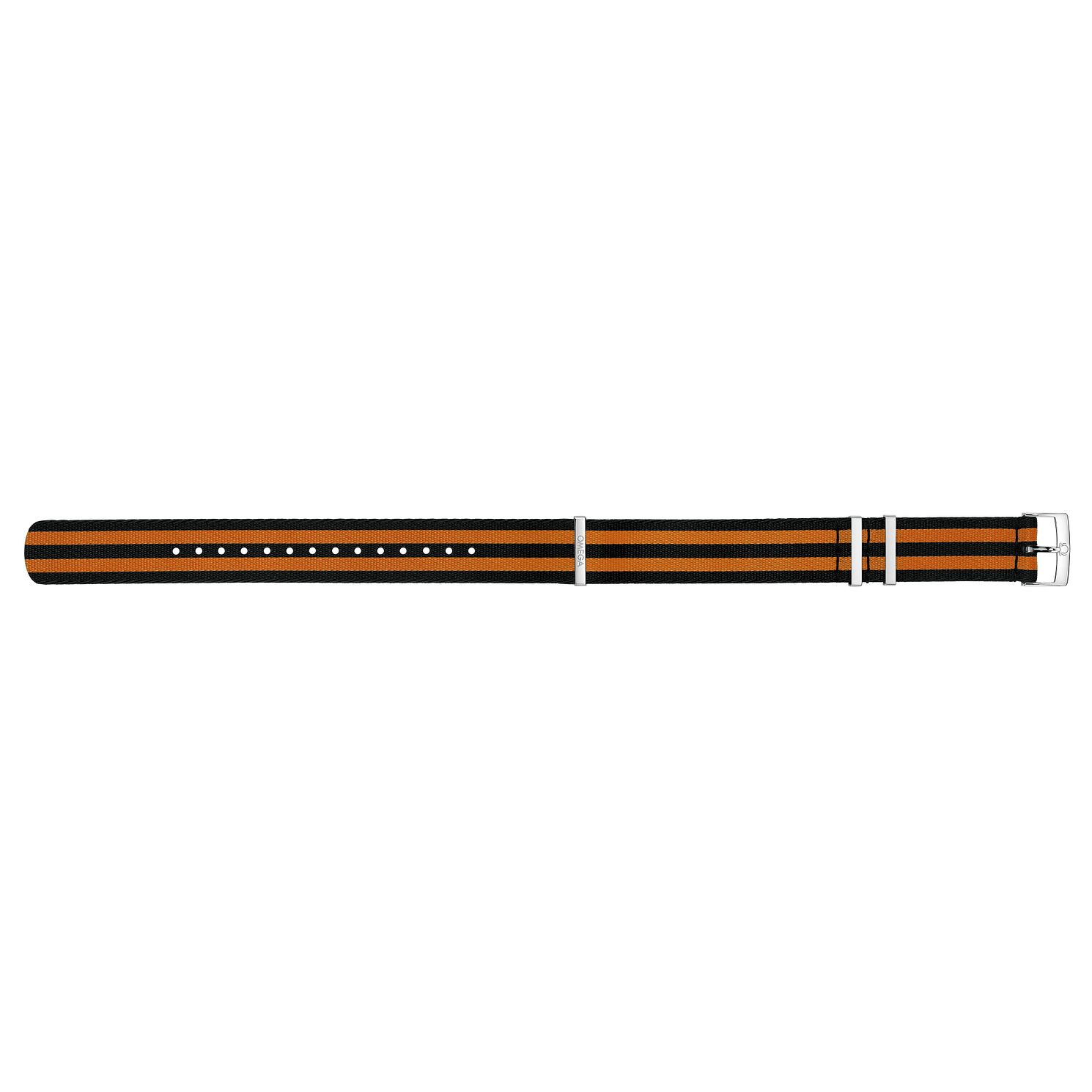 Omega Nato Black & Orange Striped Nylon Strap 22mm - Product number 1064487