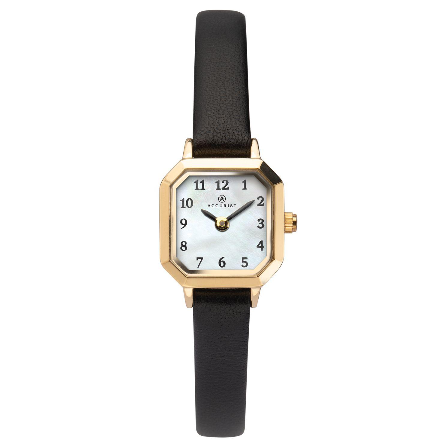Accurist Ladies' Black Leather Strap Watch - Product number 1065068