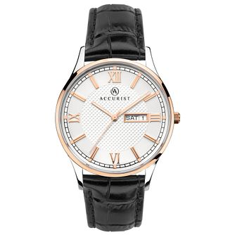 Accurist Signature Men's Black Leather Strap Watch - Product number 1065149