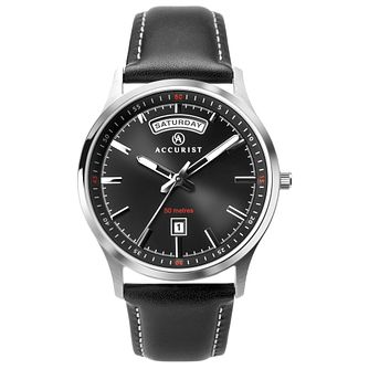 Accurist Classic Men's Black Leather Strap Watch - Product number 1065165