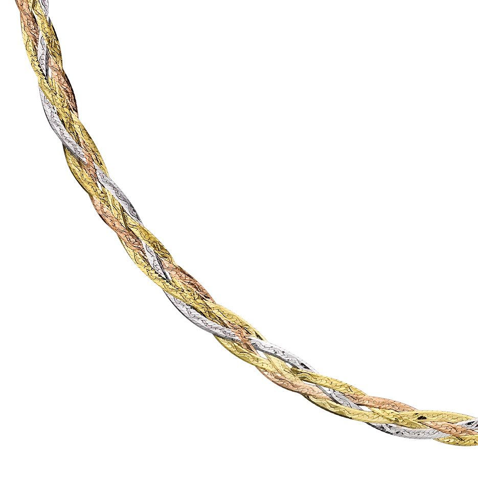 9ct Three Colour Gold 18 inches Plaited Herringbone Necklace - Product number 1065599