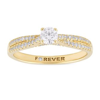 18ct Yellow Gold 2/5ct Forever Diamond Two Row Ring - Product number 1065890