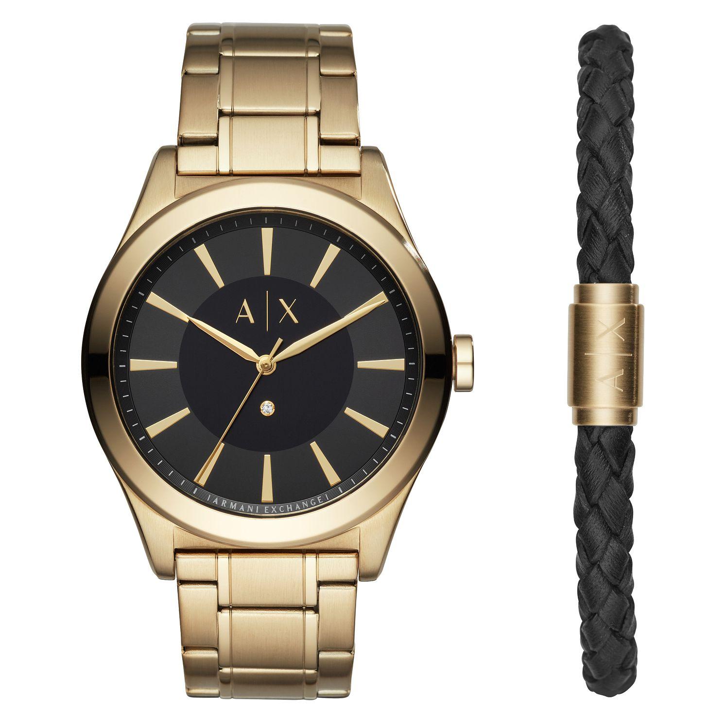 928a51c9 Armani Exchange Men's Gold Plated Watch & Bracelet Set