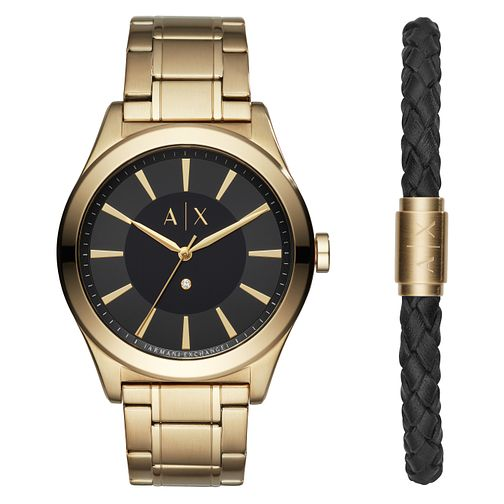 Armani Exchange Men's Gold Plated Watch & Bracelet Set - Product number 1066137