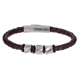 Cerruti Stainless Steel Brown Leather Bracelet - Product number 1067036