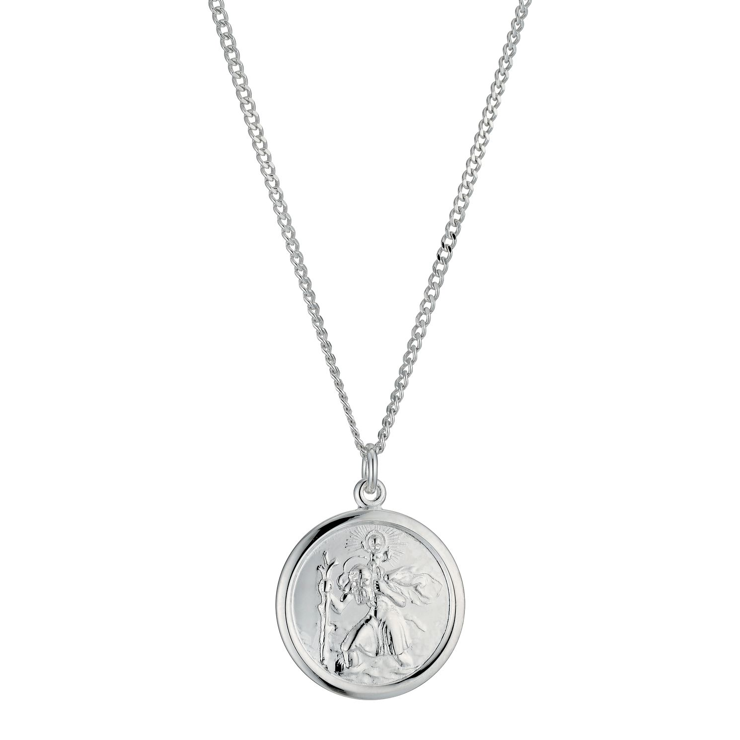 Sterling Silver St Christopher Pendant 18 Chain