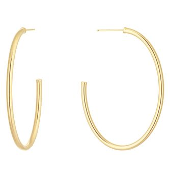 9ct Yellow Gold Skinny Oval Hoop Earrings - Product number 1072390