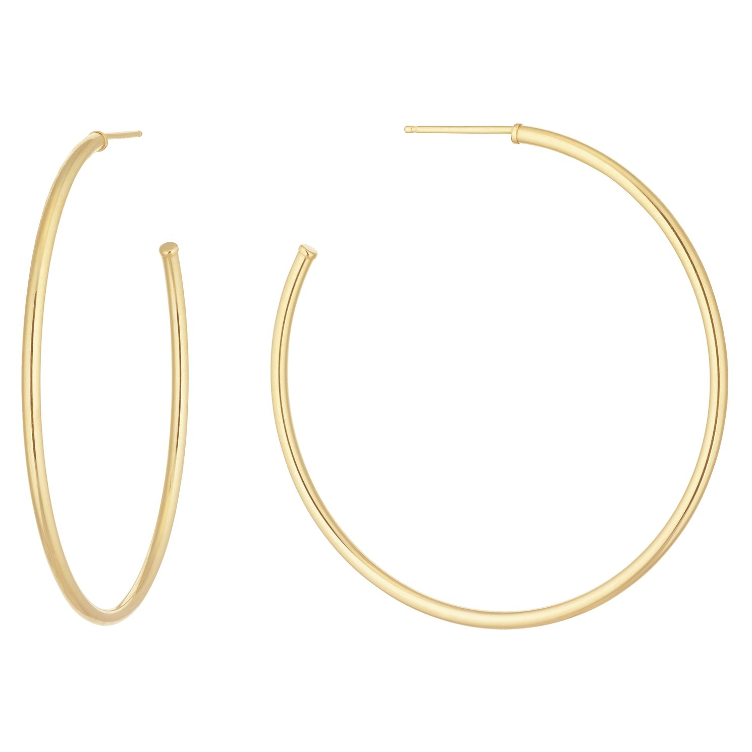 9ct Yellow Gold Skinny 37mm Hoop Earrings - Product number 1072404
