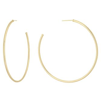 9ct Yellow Gold Skinny 47Mm Hoop Earrings - Product number 1072412