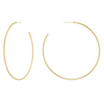 9ct Yellow Gold Skinny 57mm Hoop Earrings - Product number 1072420