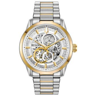 Bulova Men's Two Tone Sutton Skeleton Bracelet Watch - Product number 1074334