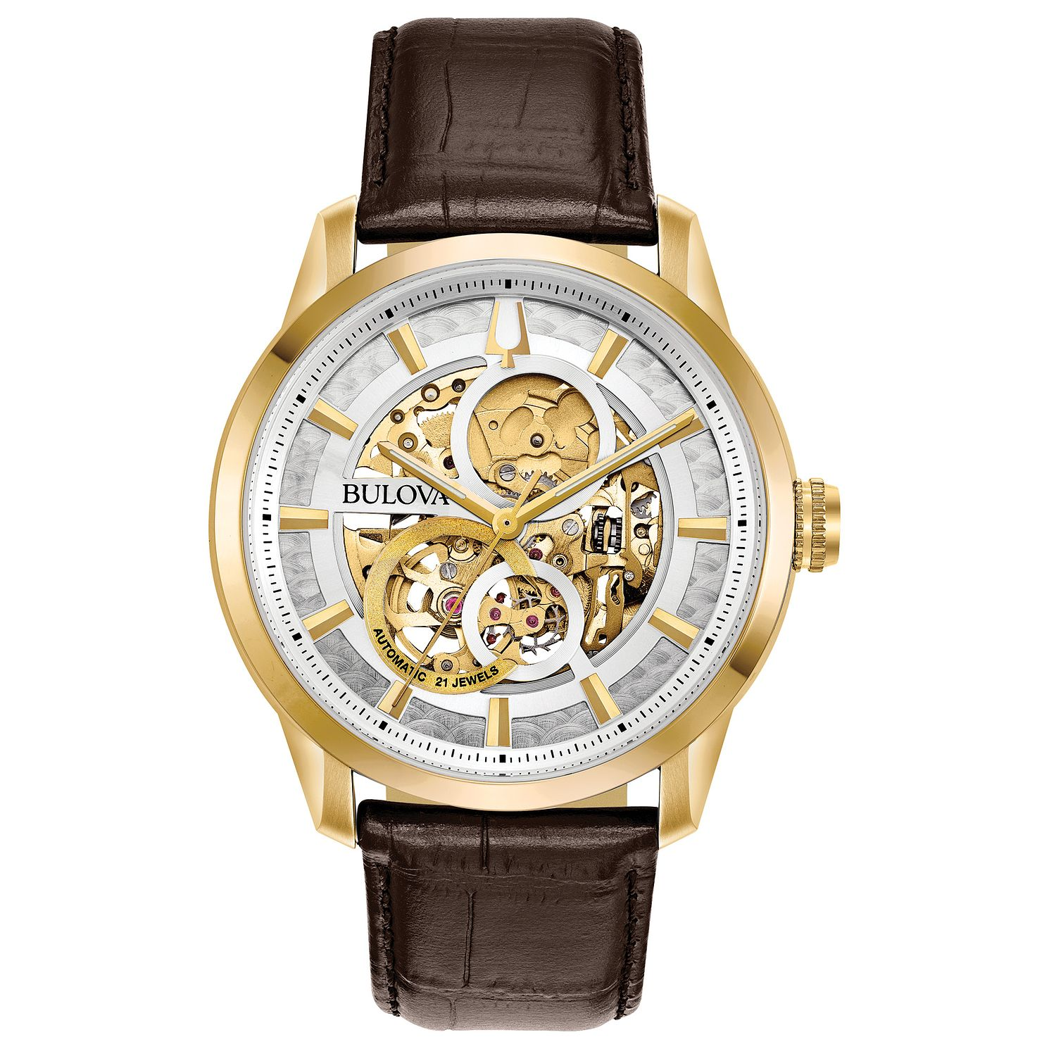 Bulova Men's Yellow Gold Sutton Skeleton Strap Watch - Product number 1074342