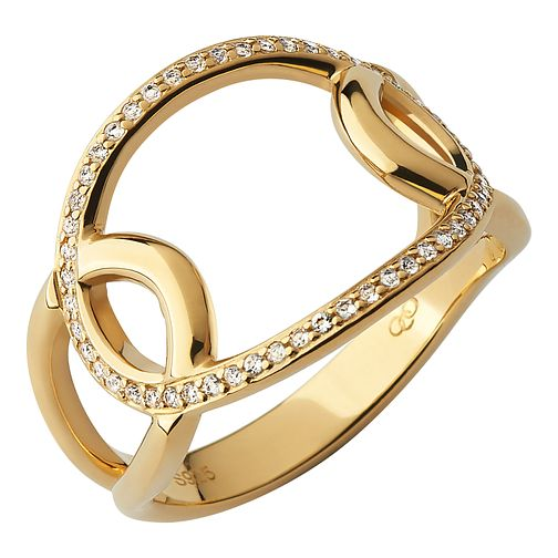 Links of London Ovals 18kt Yellow Gold & White Topaz Ring - Product number 1074598
