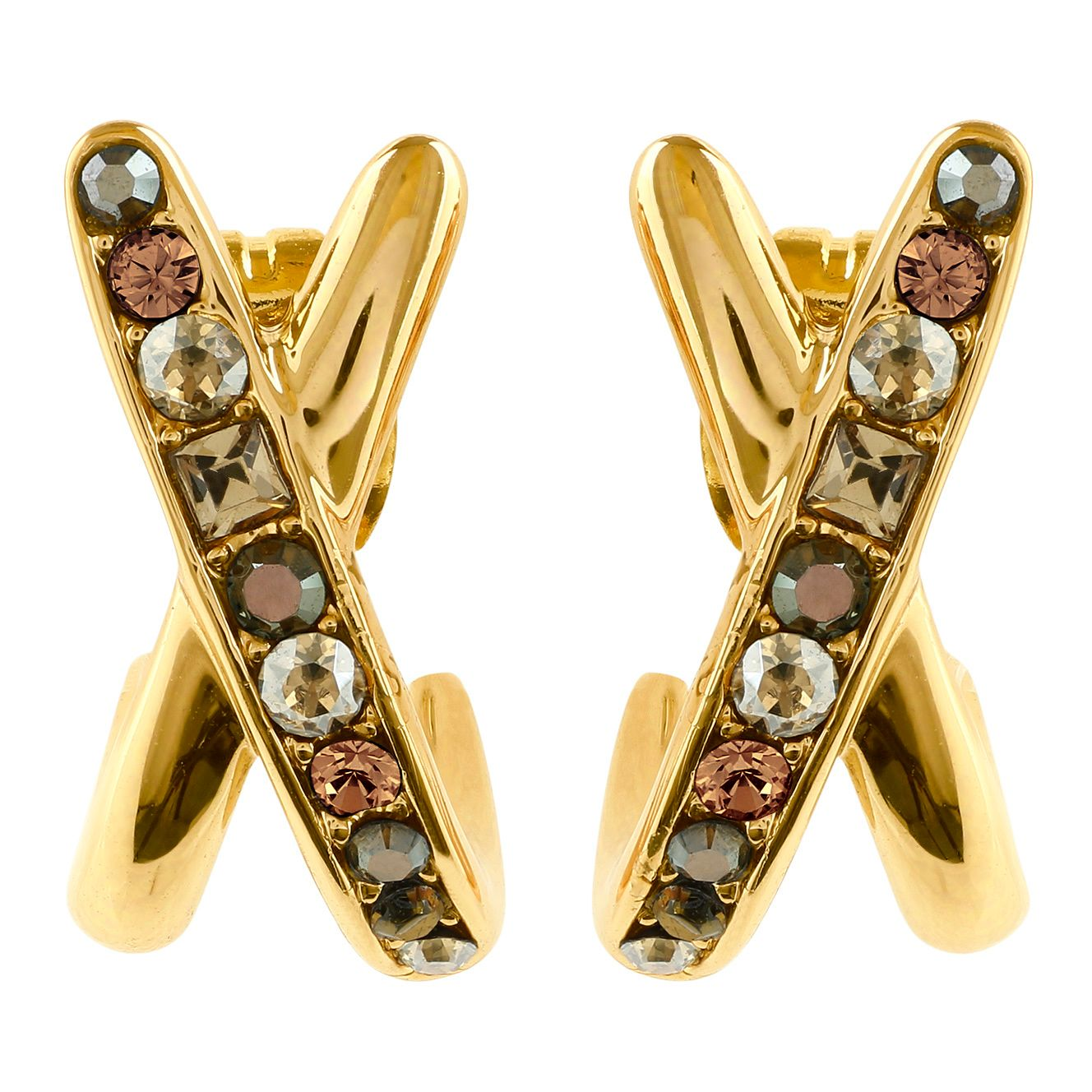 Adore Ladies Baguette Gold Plated Crossing Earrings - Product number 1075047