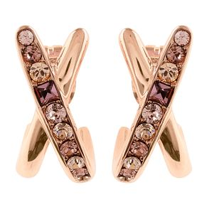 Adore Ladies Baguette Rose Gold Plated Crossing Earrings - Product number 1075055