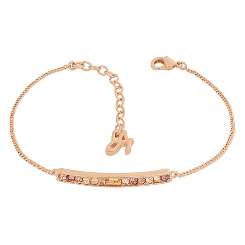Adore Ladies Rose Gold Plated Baguette & Round Bar Bracelet - Product number 1075446