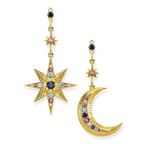 Thomas Sabo Yellow Gold Plated Moon & Star Drop Earrings - Product number 1075543