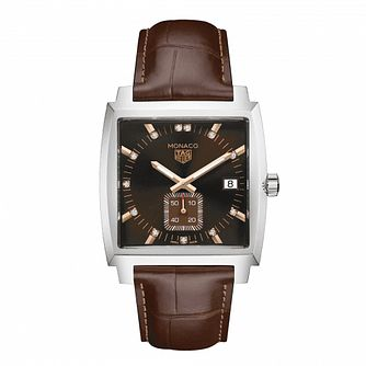TAG Heuer Monaco Ladies' Burgundy Leather Strap Watch - Product number 1075837