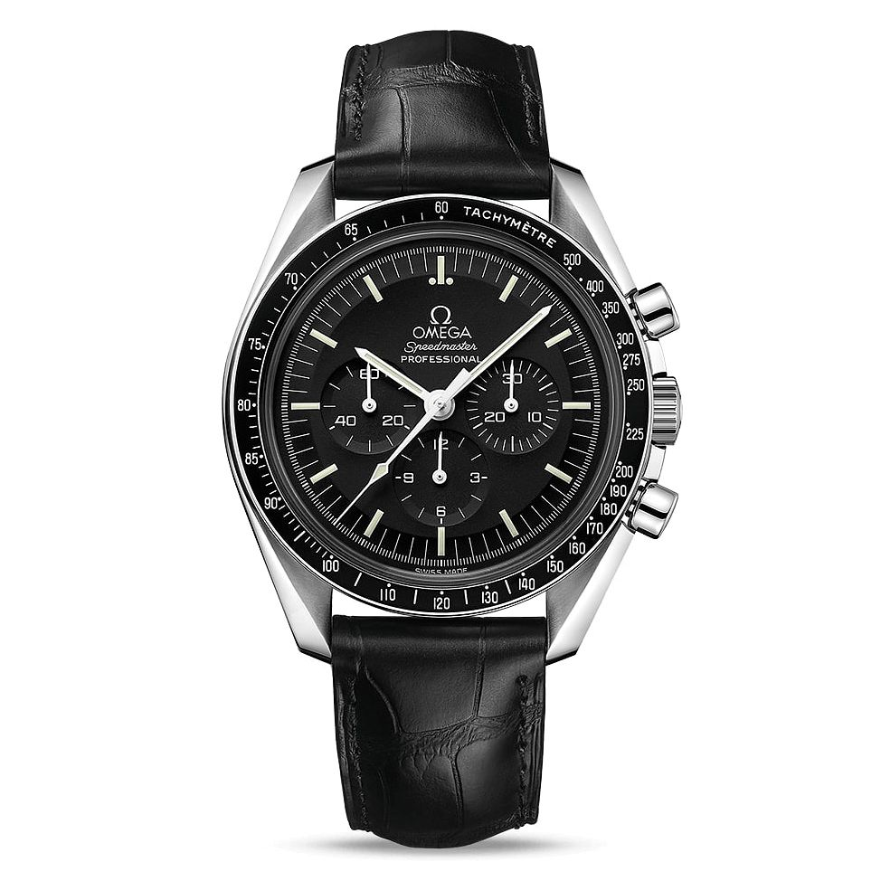 Omega Speedmaster Moonwatch Men's Black Leather Strap Watch - Product number 1077198