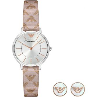 Emporio Armani Ladies' Strap Watch & Stud Earrings Gift Set - Product number 1082140
