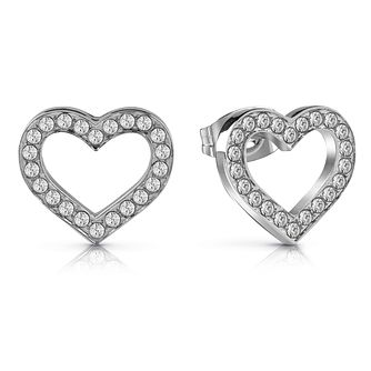 32b7e60fe Guess Rhodium Plated Heart Crystal Stud Earrings - Product number 1082205