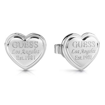 Guess Rhodium Plated Heart Shaped Stud Earrings - Product number 1082248