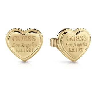 Guess Gold Plated Heart Shaped Stud Earrings - Product number 1082256
