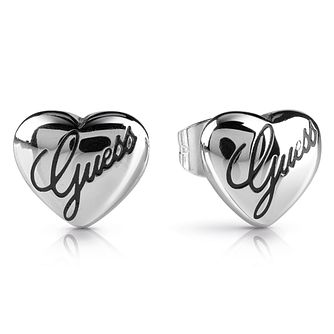 Guess Rhodium Plated Engraved Heart Stud Earrings - Product number 1082337