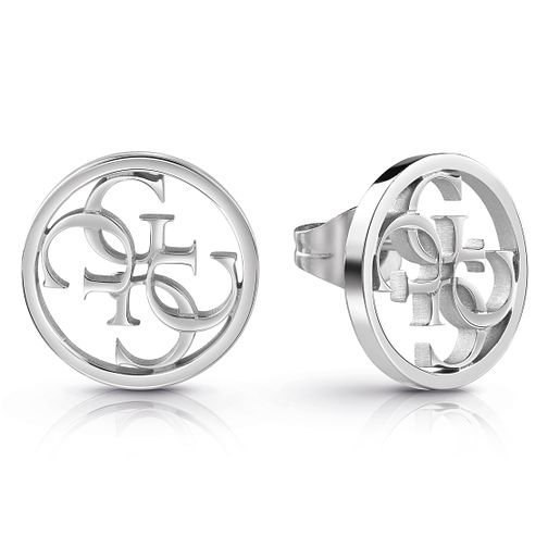Guess Rhodium Plated 4G Circular Stud Earrings - Product number 1082345