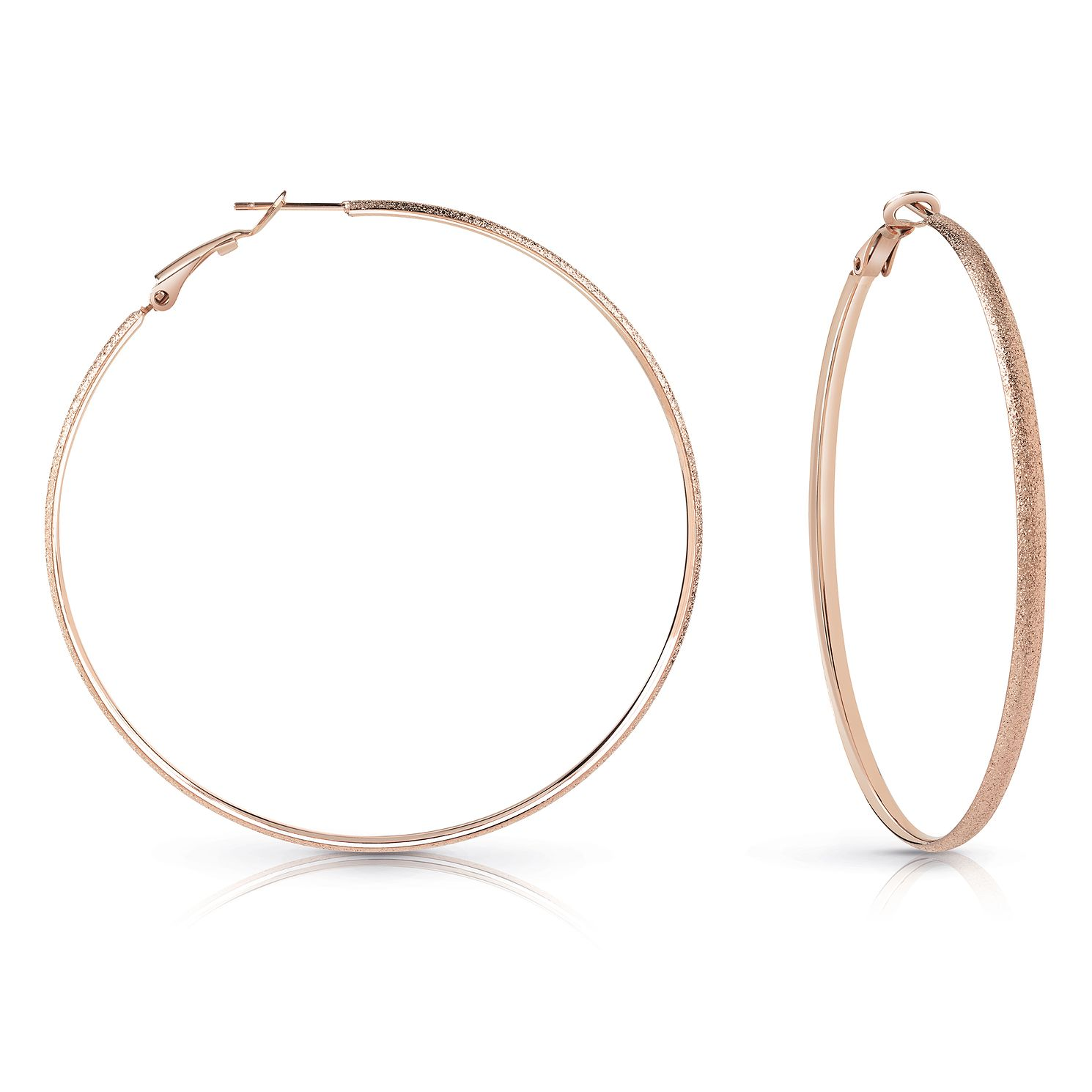 Guess Rose Gold Plated 62mm Glitter Hoop Earrings - Product number 1082426