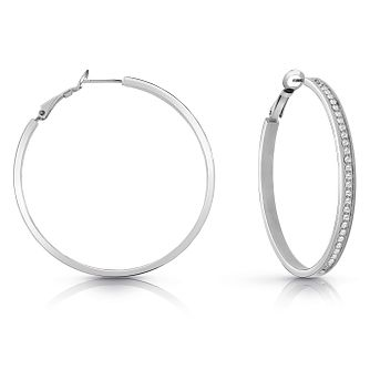 Guess Rhodium Plated 50mm Crystal Hoop Earrings - Product number 1082469