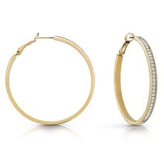 Guess Gold Plated 50mm Crystal Hoop Earrings - Product number 1082477