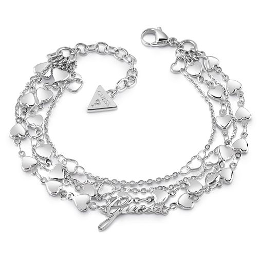 Guess Rhodium Plated Multi Heart Chain Bracelet - Product number 1082507