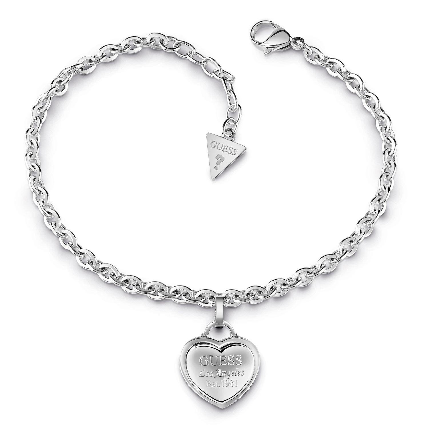 Guess Rhodium Plated Heart Charm Bracelet - Product number 1082566