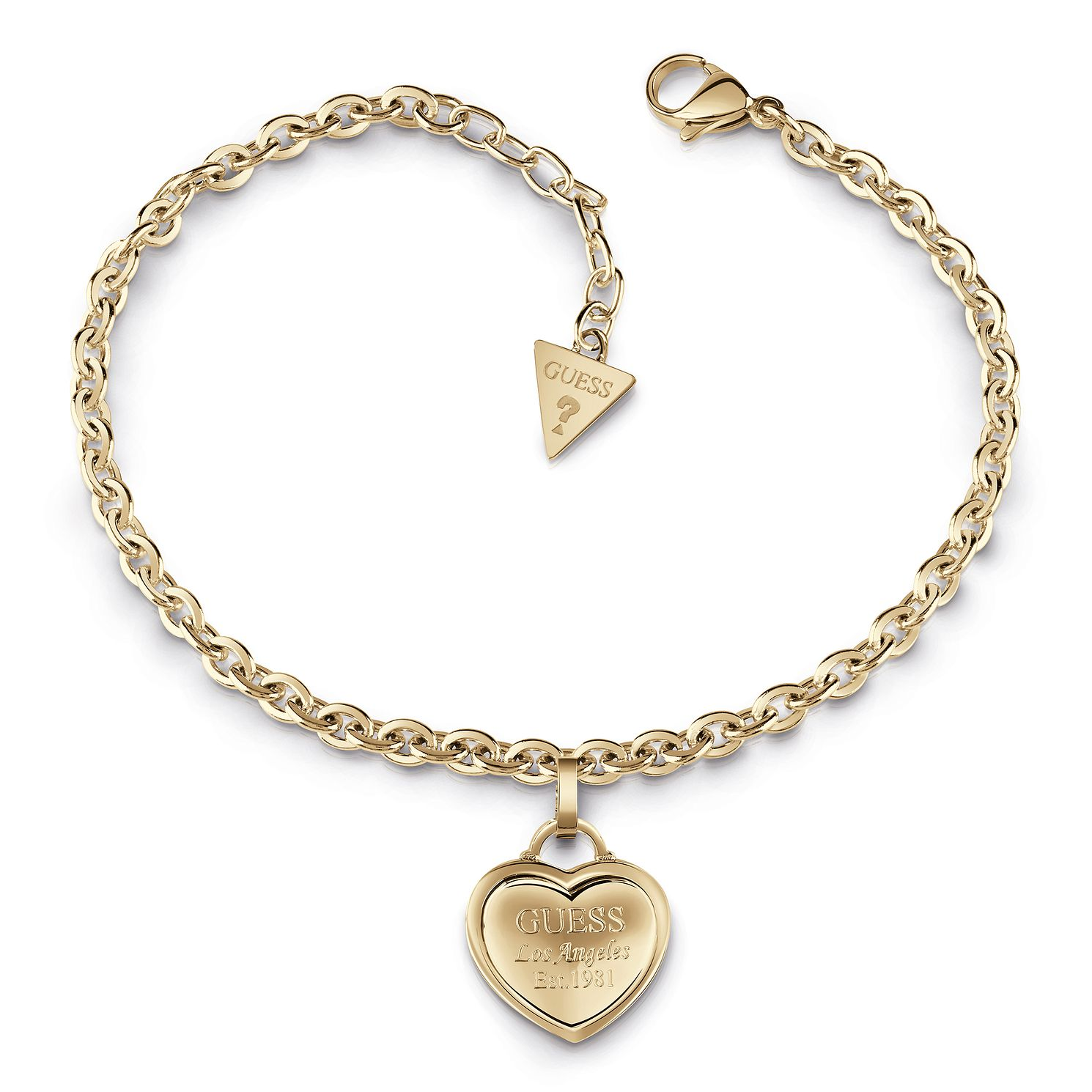 Guess Gold Plated Heart Charm Bracelet - Product number 1082574
