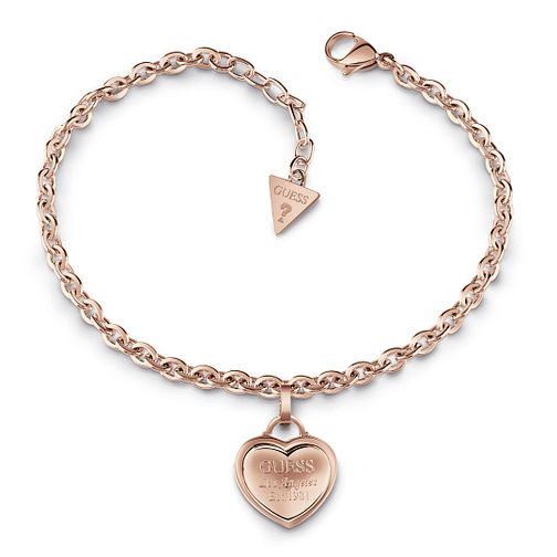 Guess Rose Gold Plated Heart Charm Bracelet - Product number 1082582