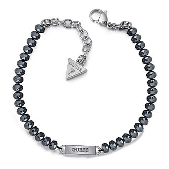 Guess Rhodium Plated Plaque Blue Bead Bracelet - Product number 1082590
