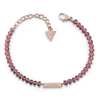 Guess Rose Gold Plated Plaque Pink Bead Bracelet - Product number 1082604