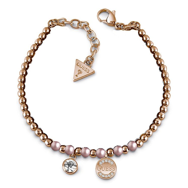 Guess Rose Gold Plated Crystal Pearl Coin bracelet - Product number 1082639