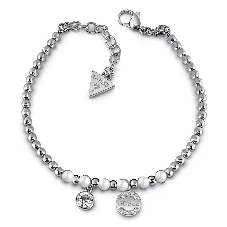 Guess Rhodium Plated Bead Crystal Pearl Coin bracelet - Product number 1082647